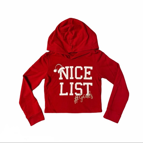 GEORGE Girls Christmas Cropped Hoodie Size M (7-8)